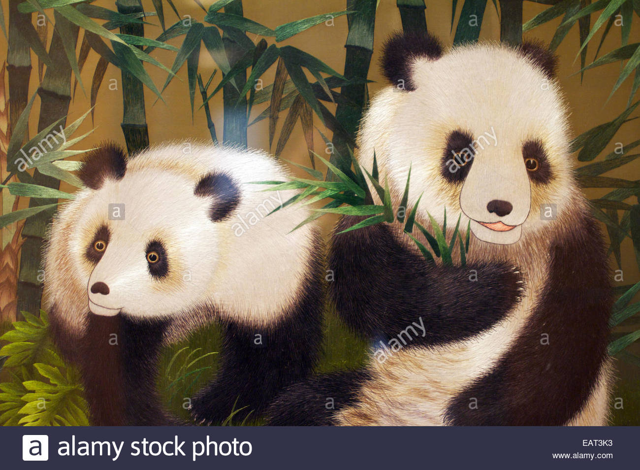 Giant Pandas depicted in a painting, Hong Kong Museum of History. - Stock Image