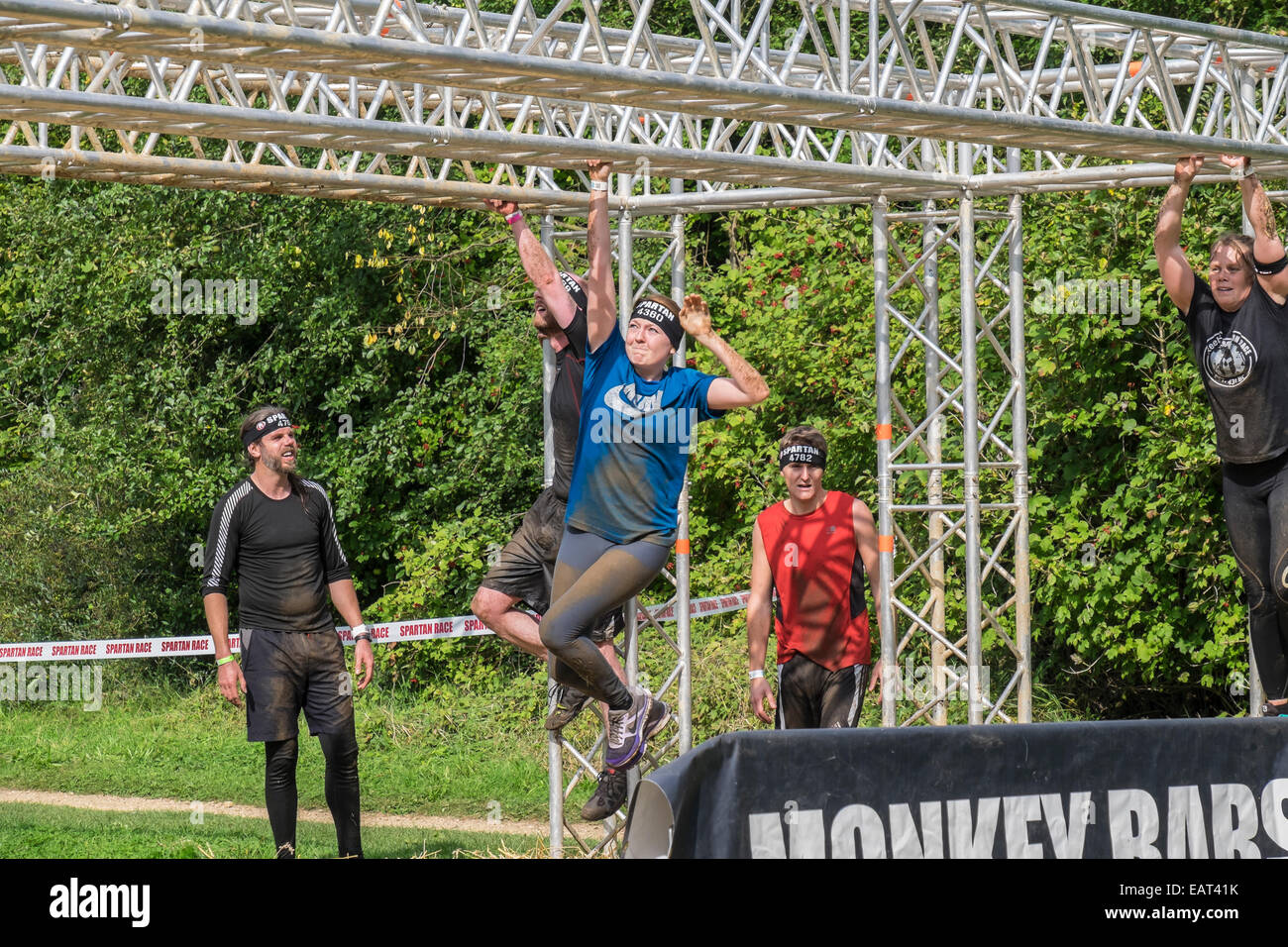 Competitors traversing Monkey bars obstacle Spartan race Milton country park - Stock Image