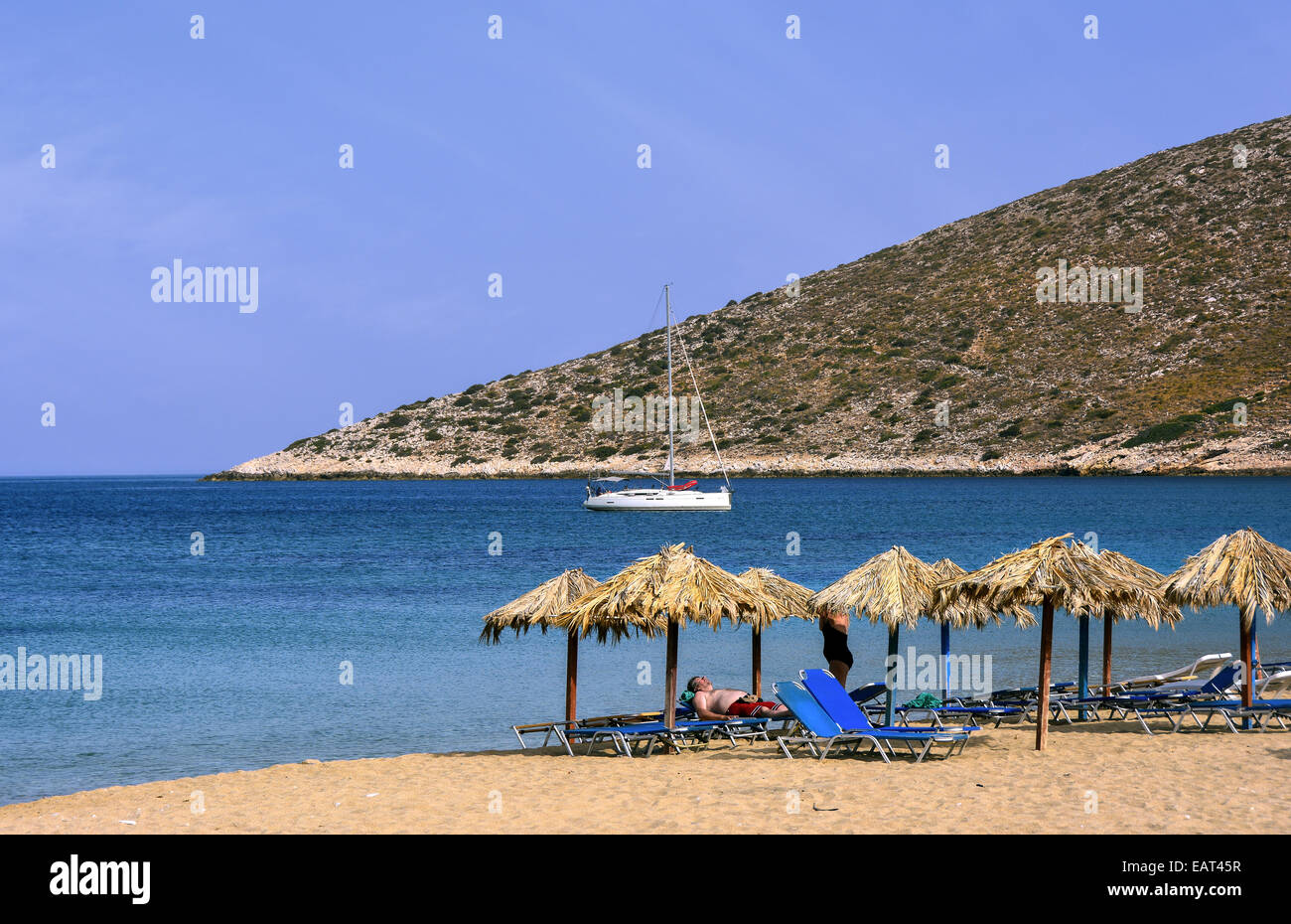 The organized 'Agia Theodoti'  bay,  situated on the northeastern  coast of Ios island, Cyclades, Greece - Stock Image