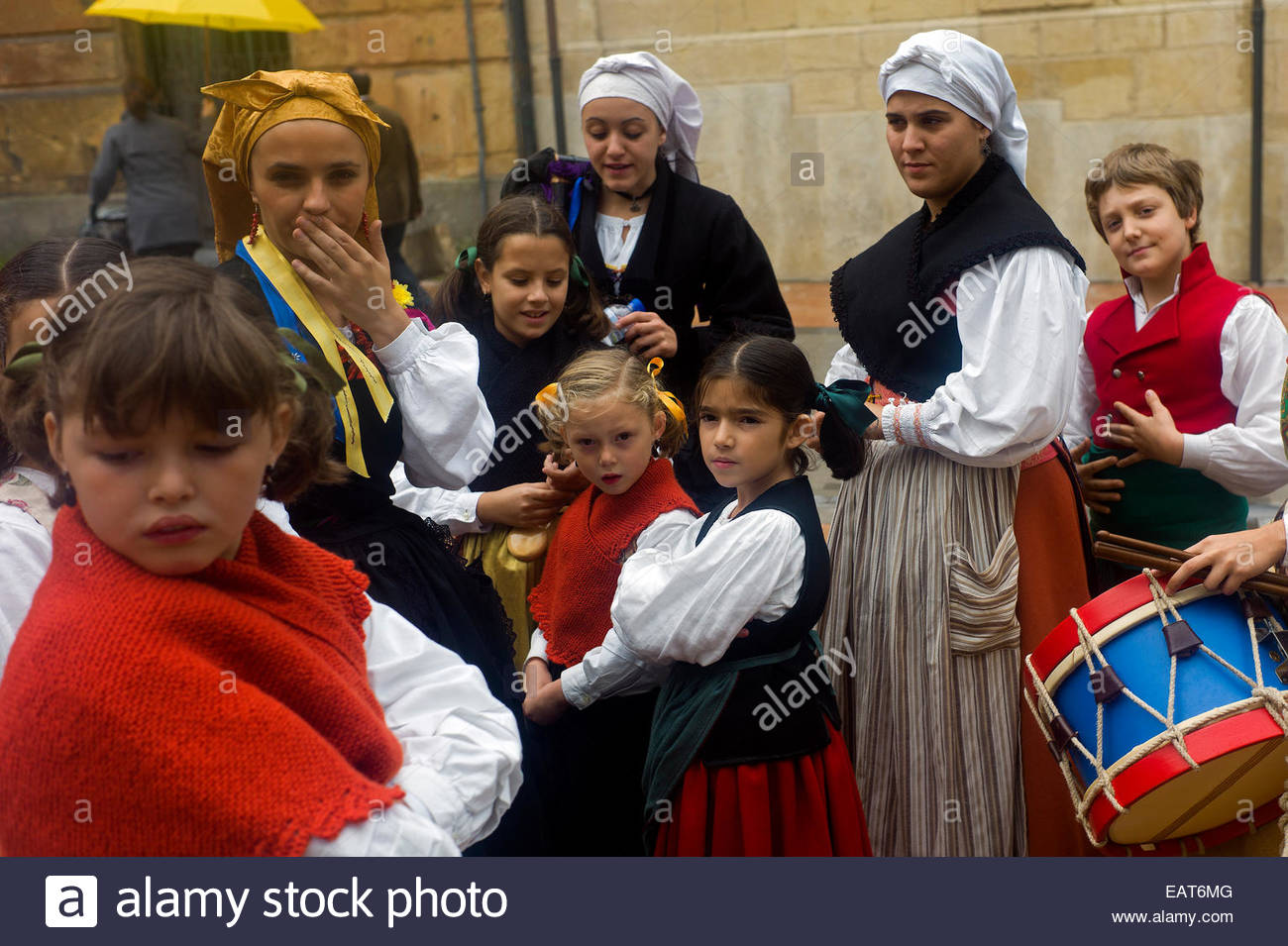 A folk group at the Plaza Alfonso II El Casto in Oviedo, Spain. - Stock Image