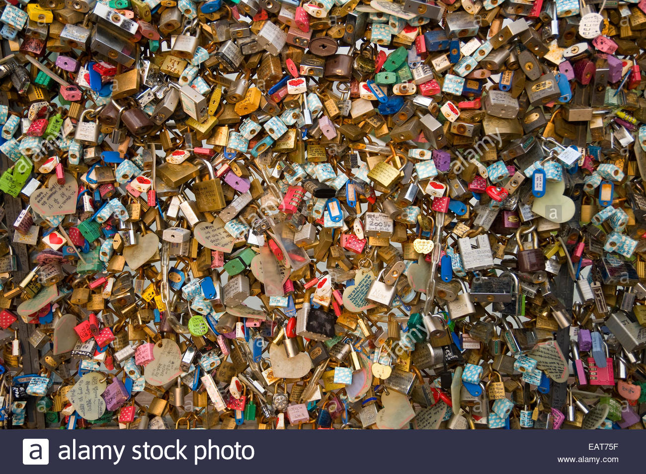 Inscribed padlocks represent couples' devotion atop N Seoul Tower. - Stock Image