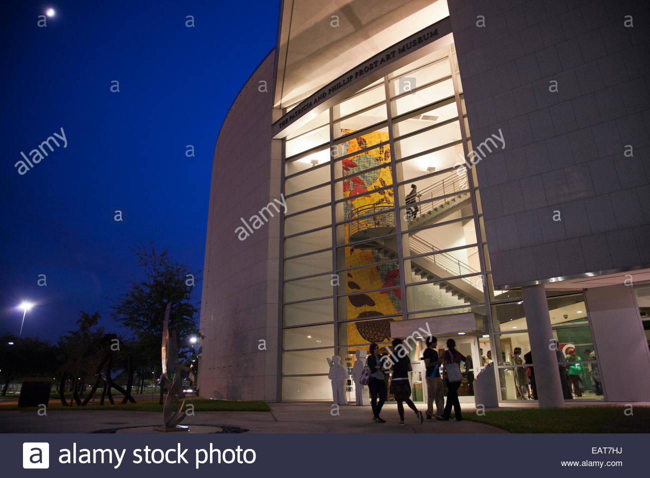 The recognizable glass atrium entrance marks the Frost Art Museum. - Stock Image