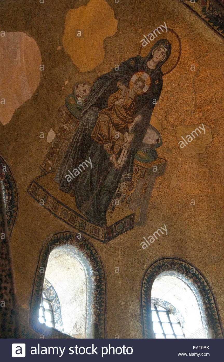 An elaborate mosiac depicting the Madonna and infant Jesus. - Stock Image