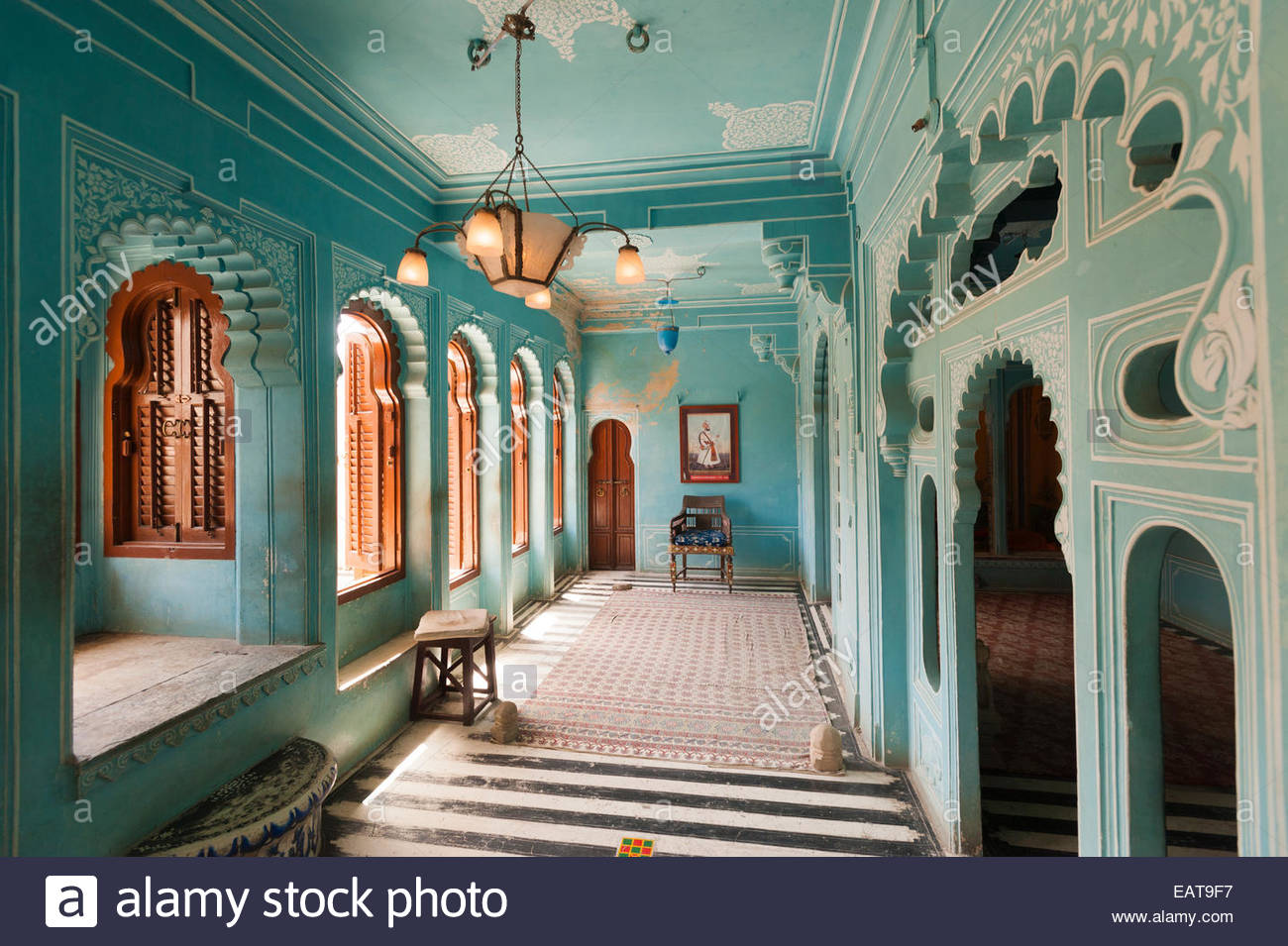 Room within Udaipur palace in India - Stock Image