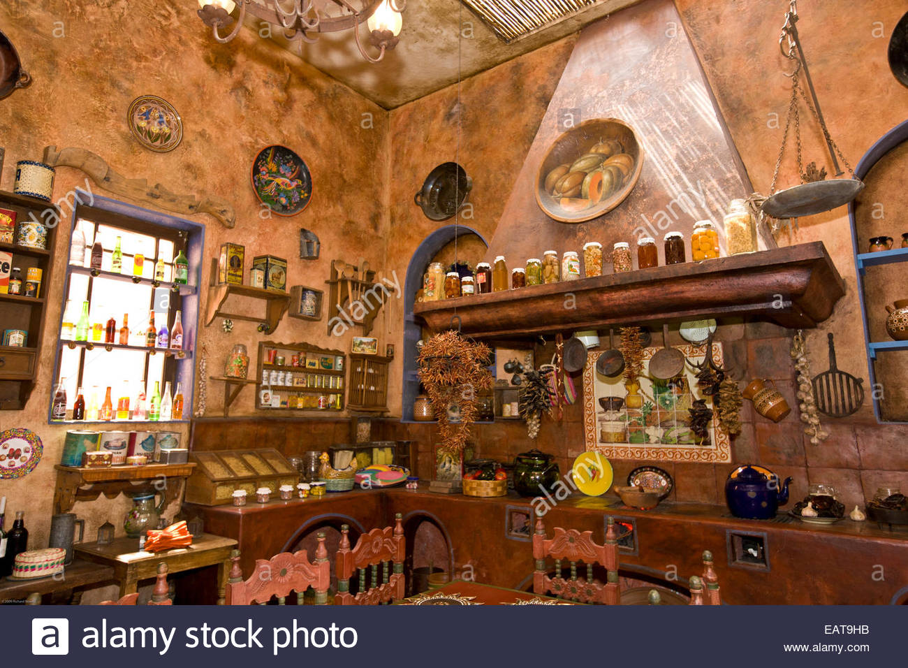 Casa Canela Restaurant's old fashioned kitchen dining room. - Stock Image
