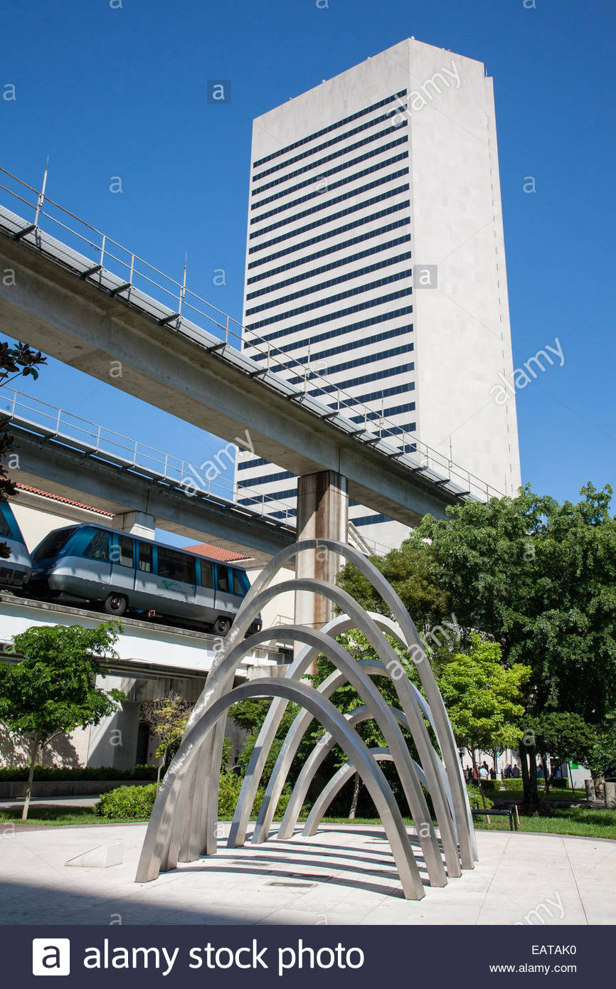 A sculpture in front of the metro at the Dade Cultural Arts Center. - Stock Image
