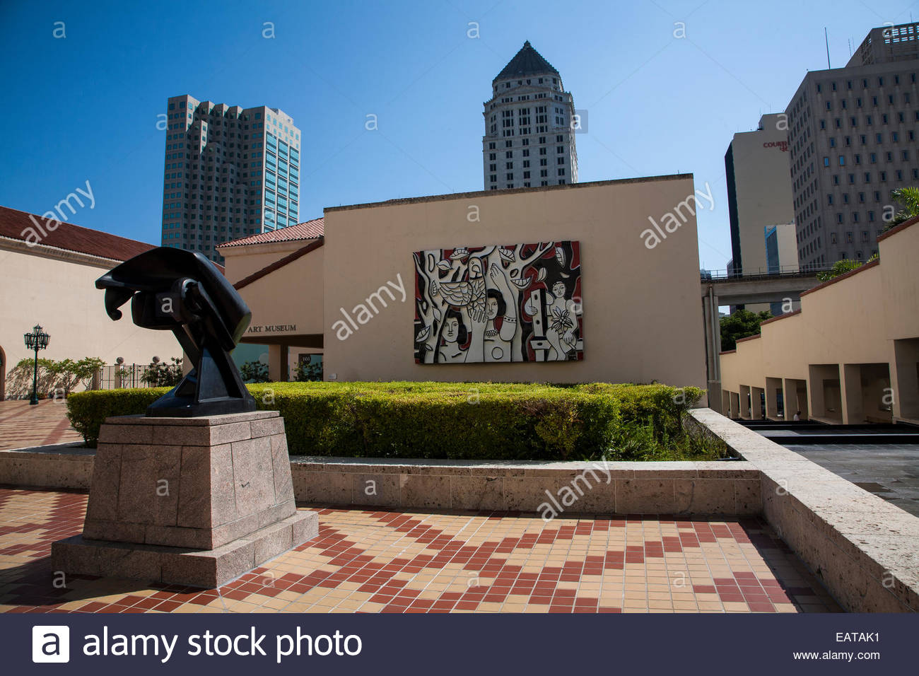 Sculpture and art at the Dade Cultural Arts Center. - Stock Image