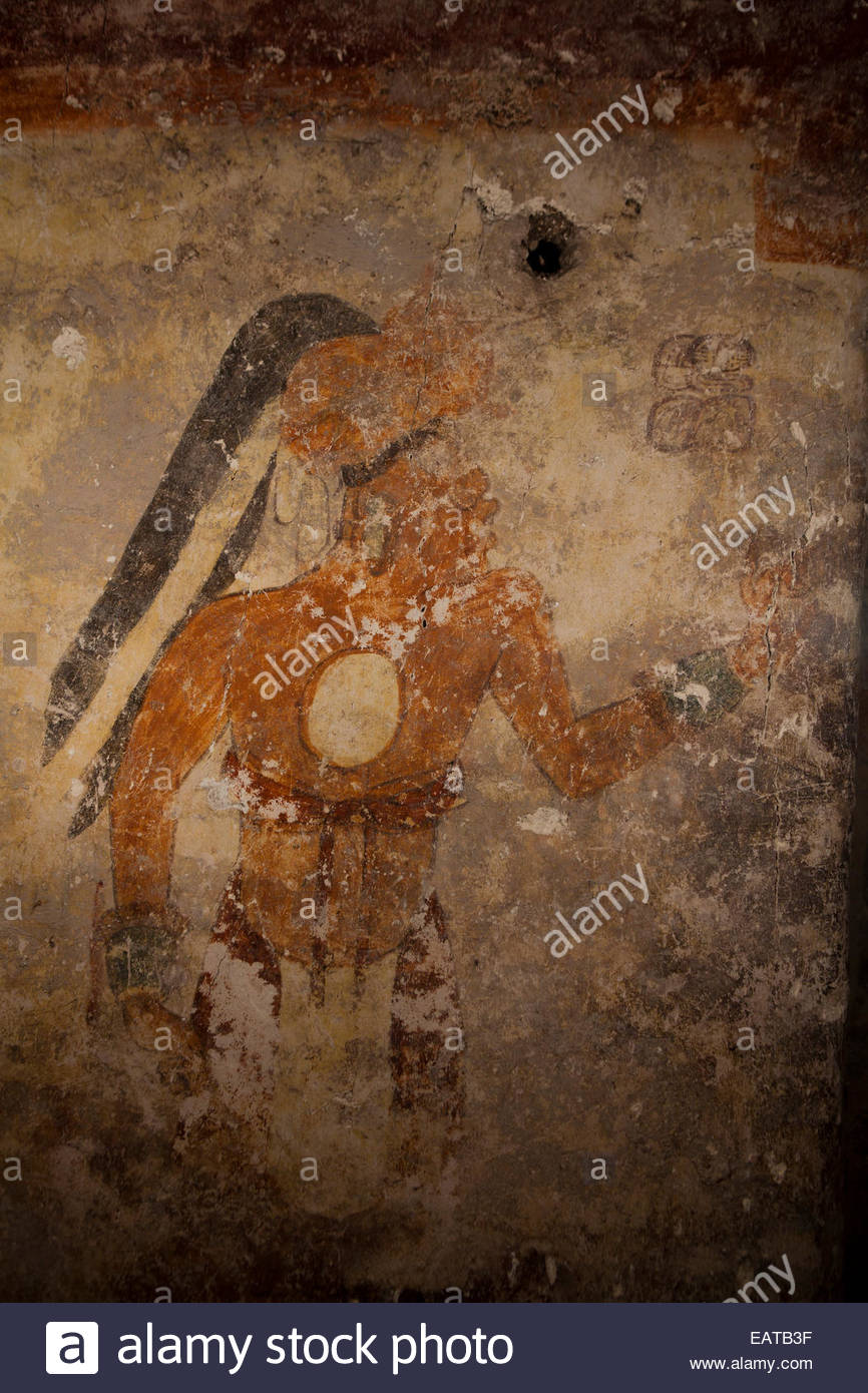 A Maya mural painting at Xutlun of Younger Brother Obsidian,  who may have been the town scribe. - Stock Image
