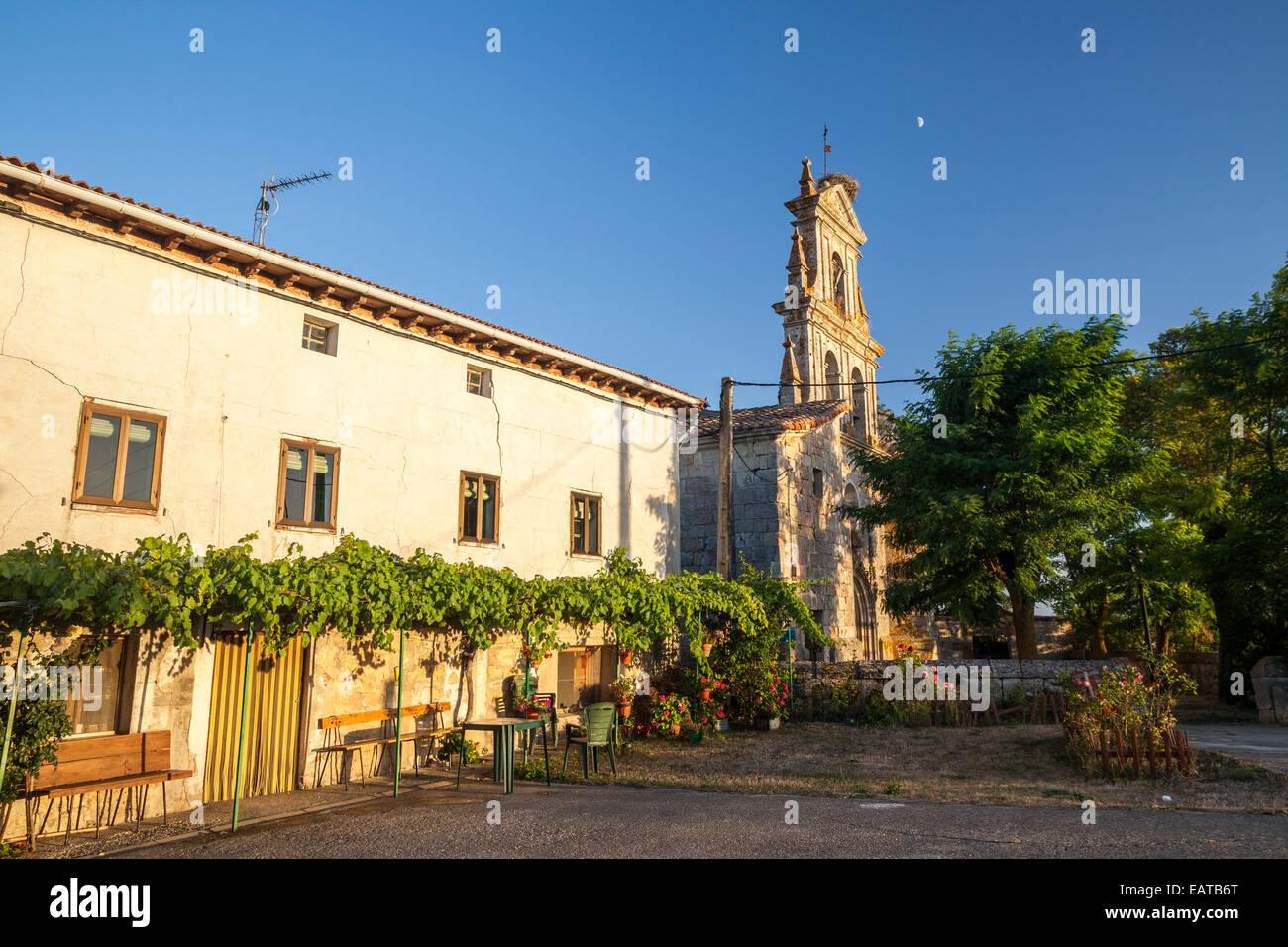 Church of Nuestra Señora de Mérida in Agés village in the Way of St. James, Burgos, Spain - Stock Image