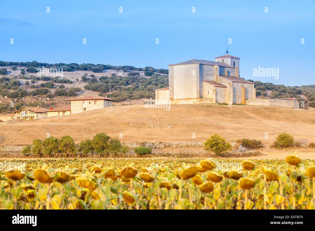Church of San Martín in Atapuerca village in the Way of St. James, Burgos, Spain - Stock Image