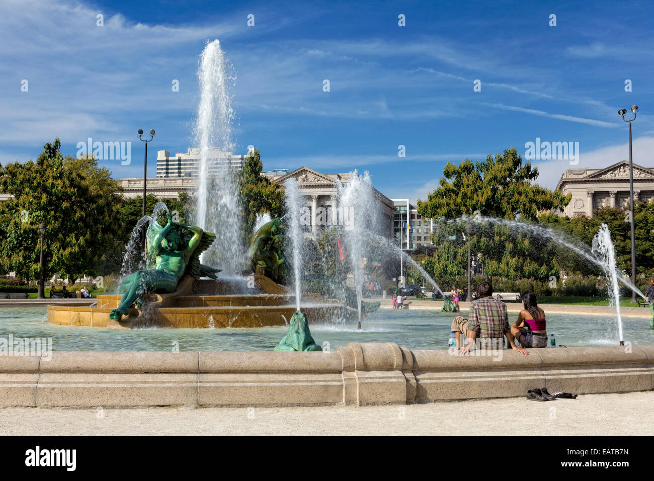 The Swann Memorial Fountain is located in Logan Circle, Philadelphia, Pennsylvania. Also called the Fountain of - Stock Image
