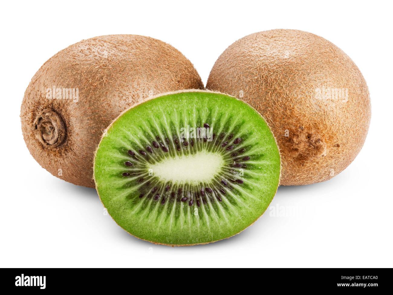Kiwi fruit isolated on white background. Clipping Path - Stock Image