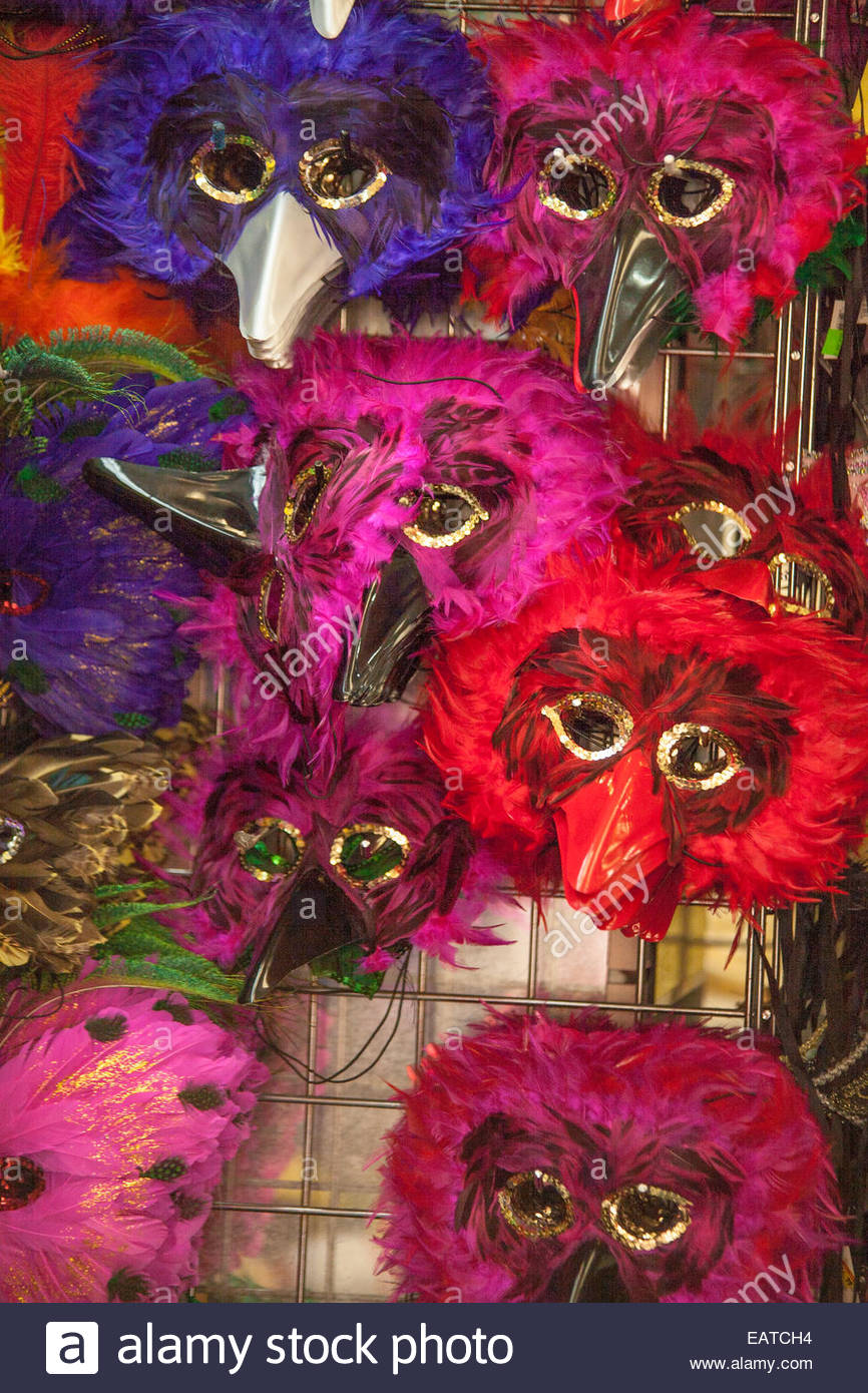 Mardi Gras masks for sale in store. - Stock Image