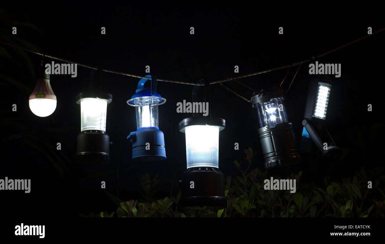 garden lights at night - Stock Image