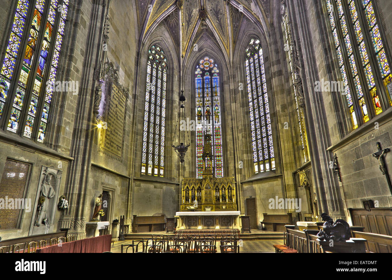 BRATISLAVA, SLOVAKIA - FEBRUARY 11, 2014: The presbytery of st. Martin cathedral from 15. cent. - Stock Image