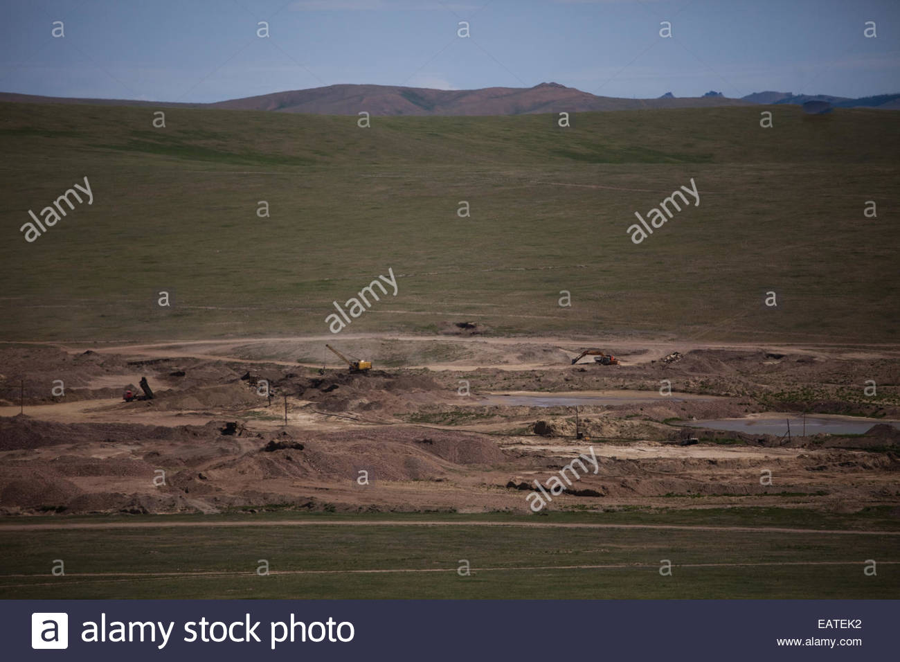 Gold miners on the steppe. - Stock Image