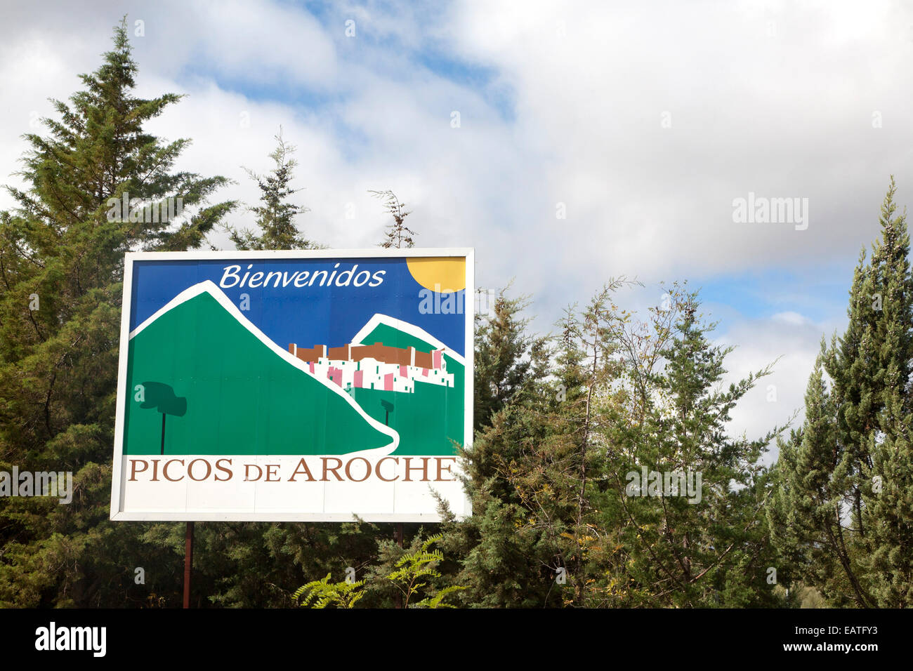 Welcome sign for the Picos de Aroche, Aroche, Sierra de Aracena, Huelva province, Spain - Stock Image