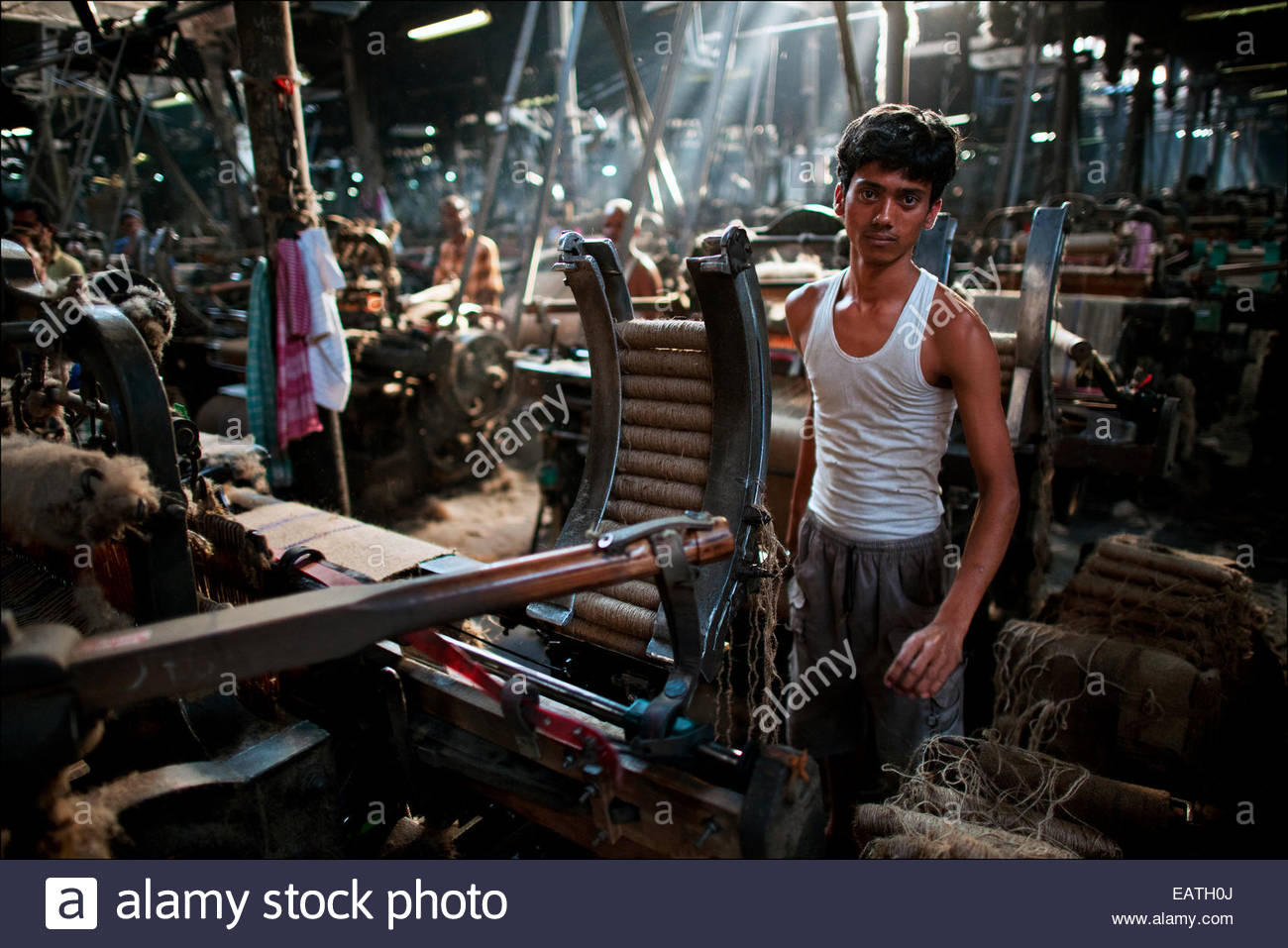 Migrant workers from Bihar turn raw jute into bolts of golden fiber inside the Hastings Jute Mill. - Stock Image