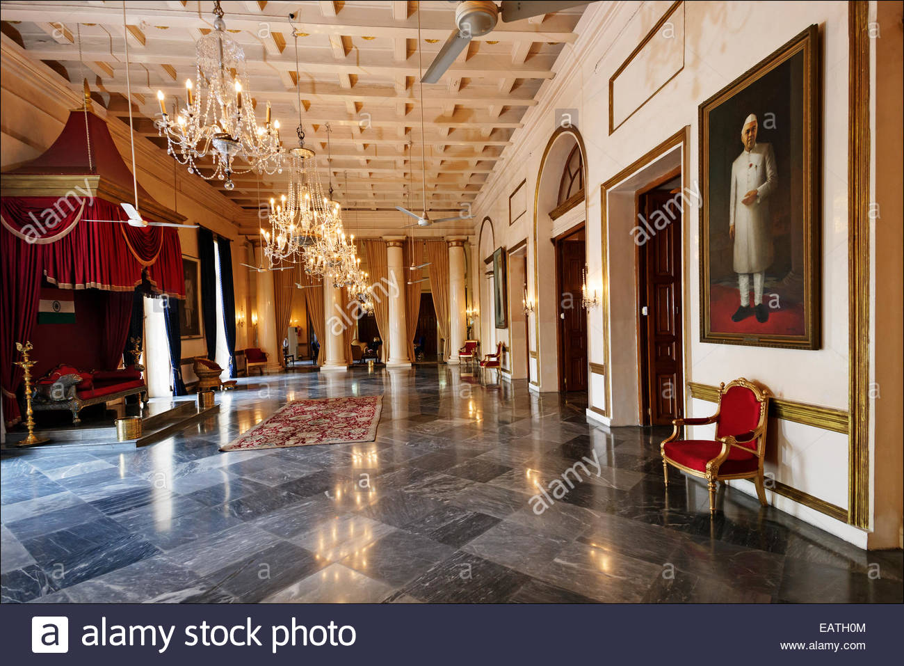 A portrait of Jawaharlal Nehru in the Throne Room of the Raj Bhavan, residence of the governor of West Bengal and - Stock Image
