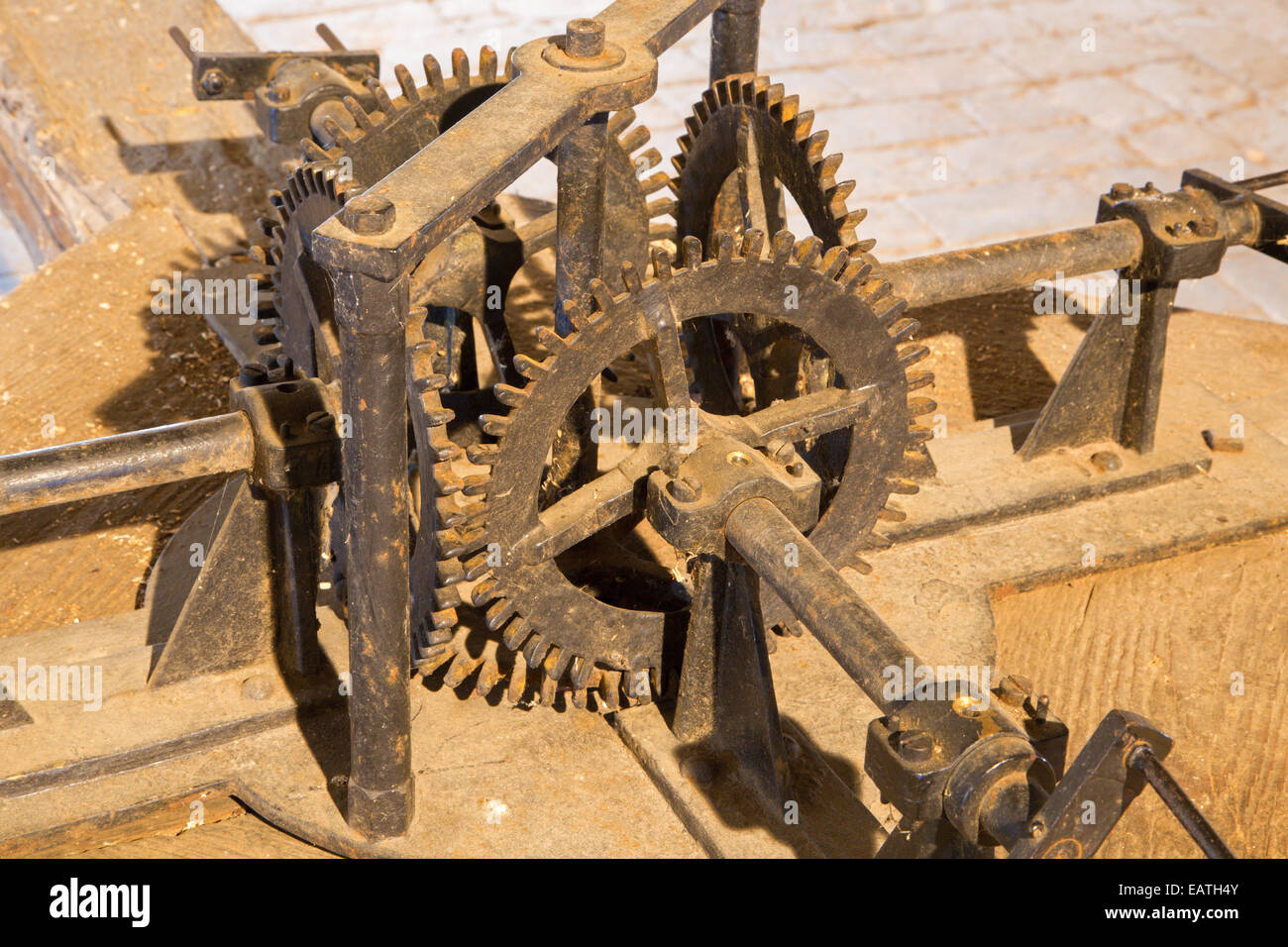 Bratislava - The detail of functionless old gear box int clock-work on the St. Martins cathedral. - Stock Image