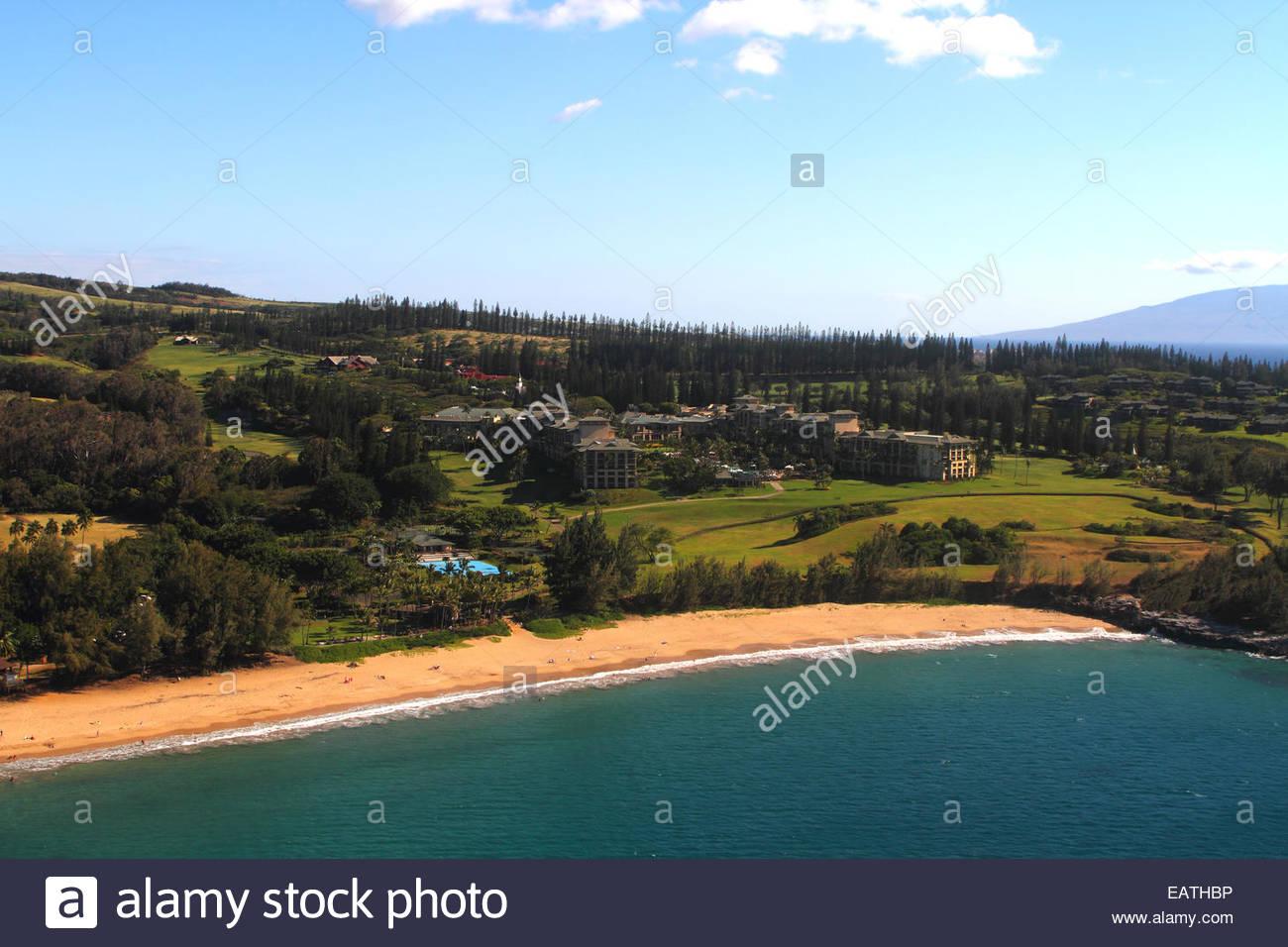 Aerial view of Flemings Beach in the Kapalua resort area. - Stock Image