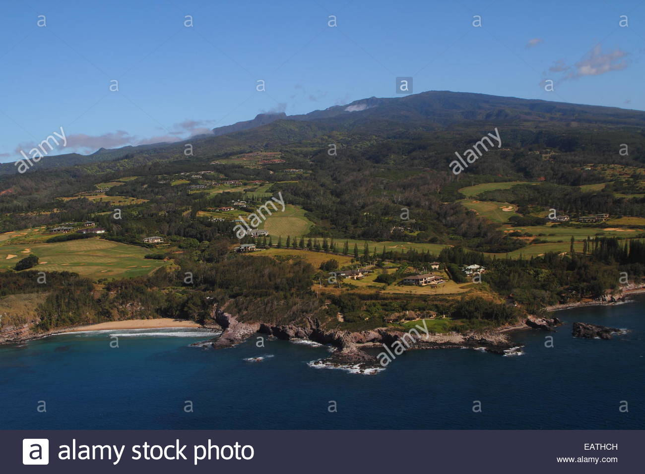 An aerial view of secluded Slaughter House Beach. - Stock Image