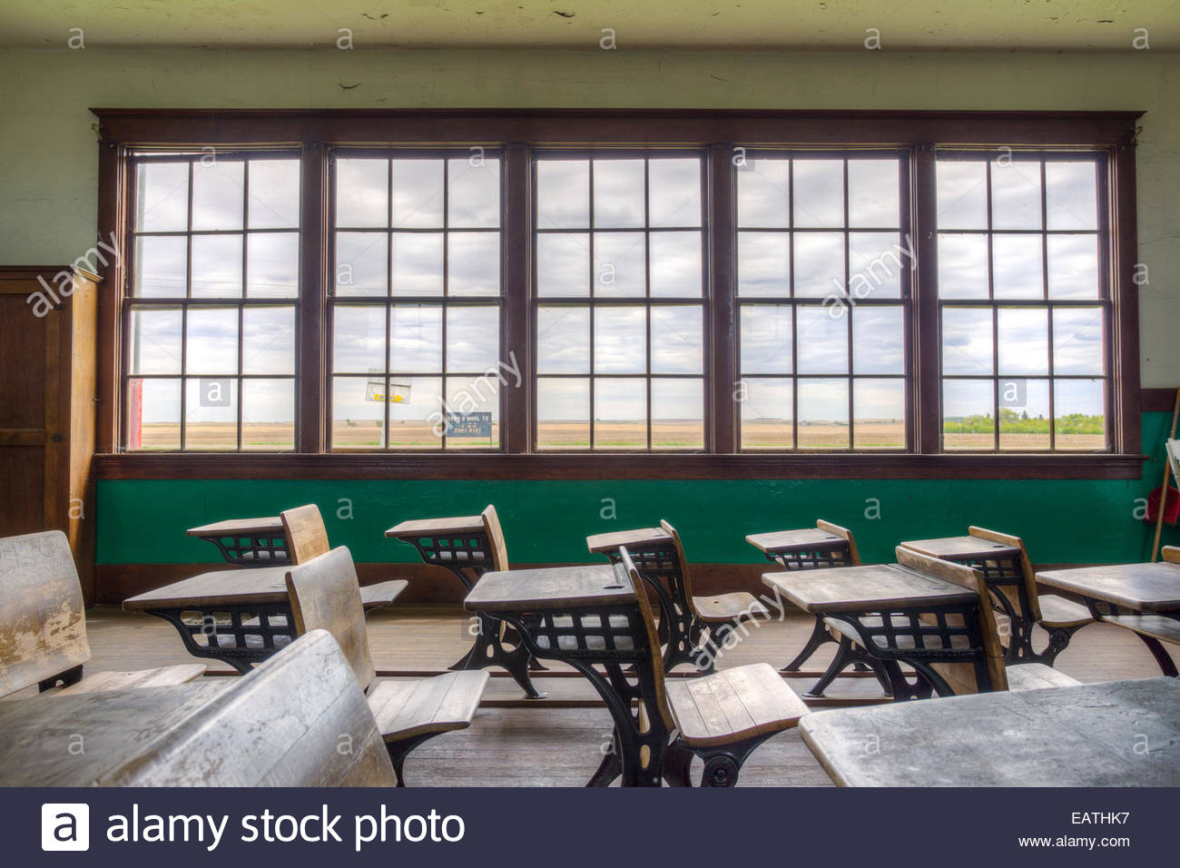 An antique classroom near Leader. - Stock Image