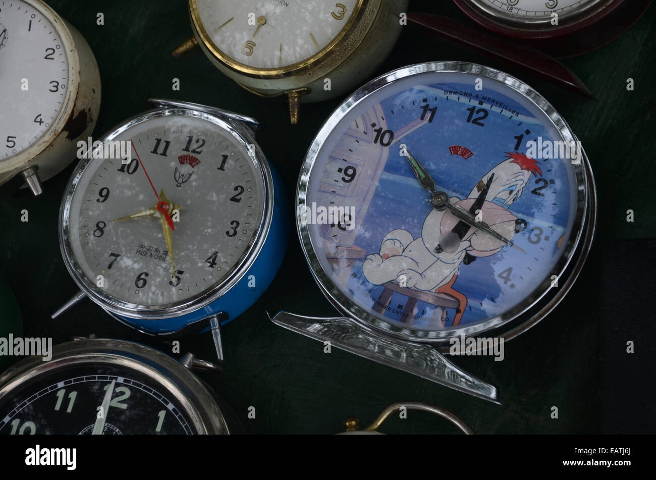 collection of vintage alarm clocks on display at Lille Braderie 2014 Stock Photo