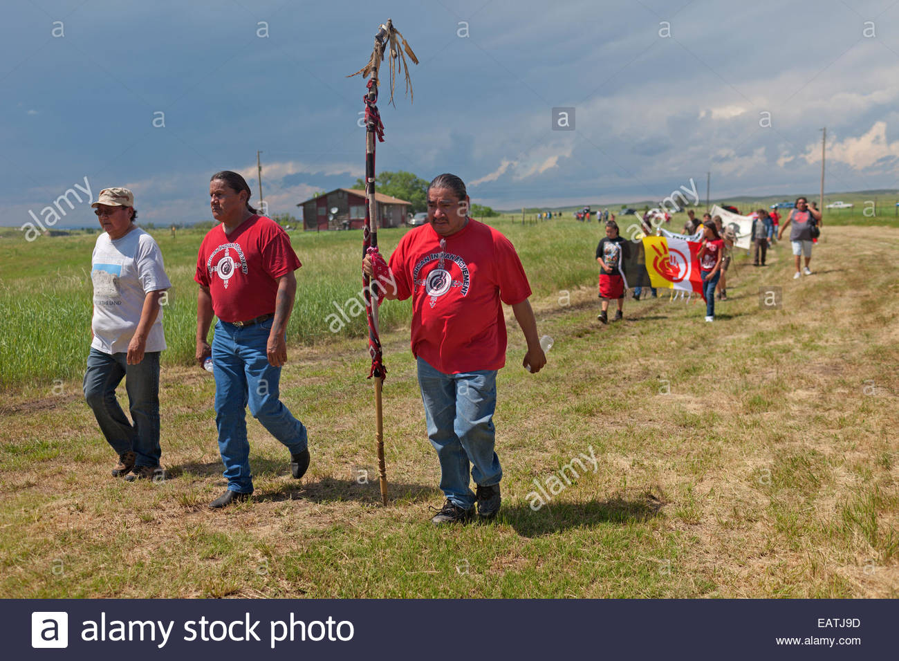 A rally to commemorate a shoot-out between American Indian Movement activists and FBI agents. - Stock Image