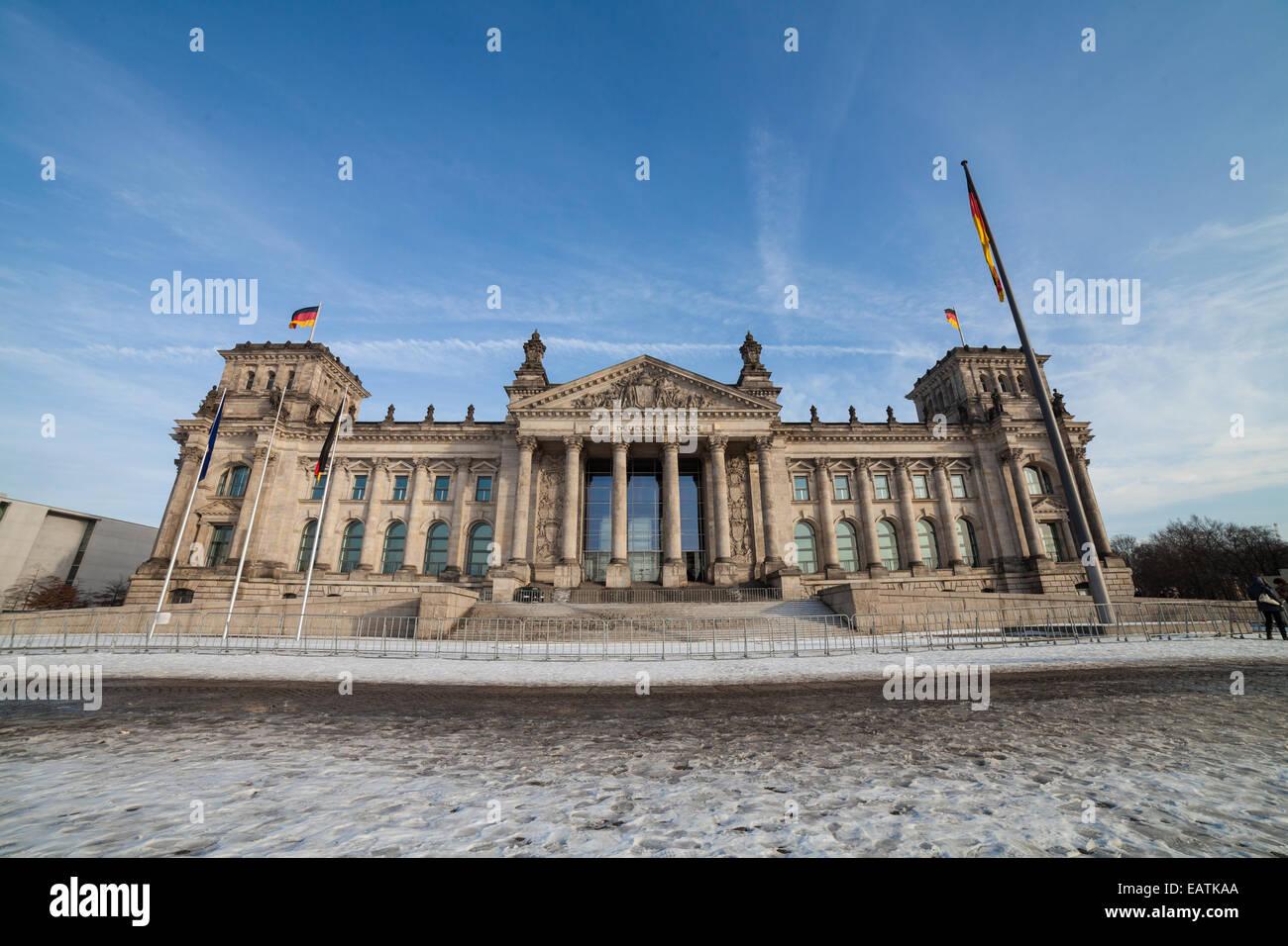 bundestag in berlin in winter time - Stock Image