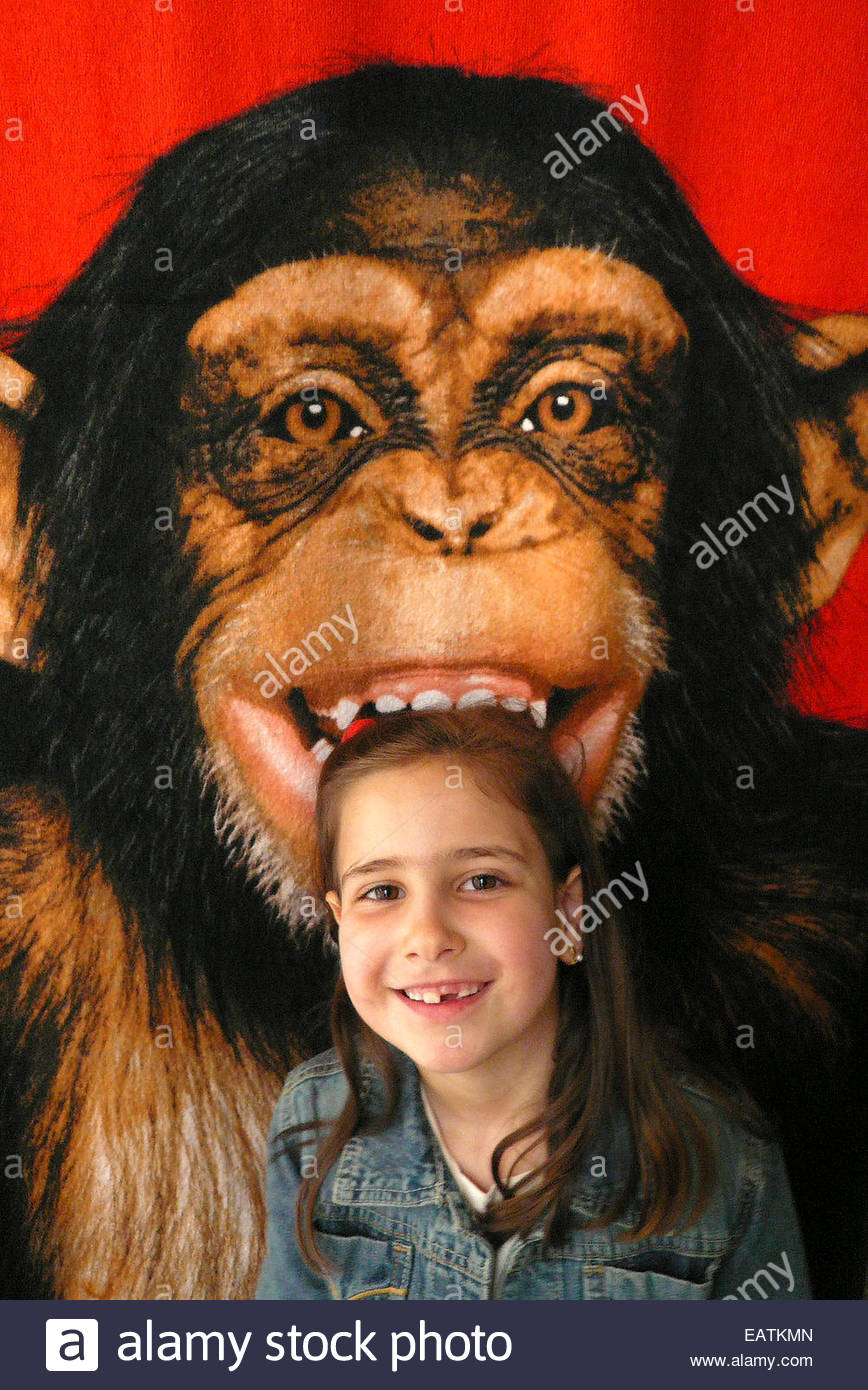 A girl stands in front of a chimpanzee that appears to bite her. - Stock Image