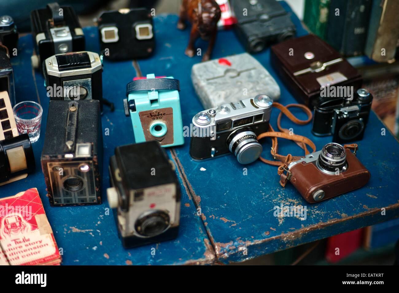 Memorabilia and vintage cameras for sale in the Plaza de Armas. - Stock Image