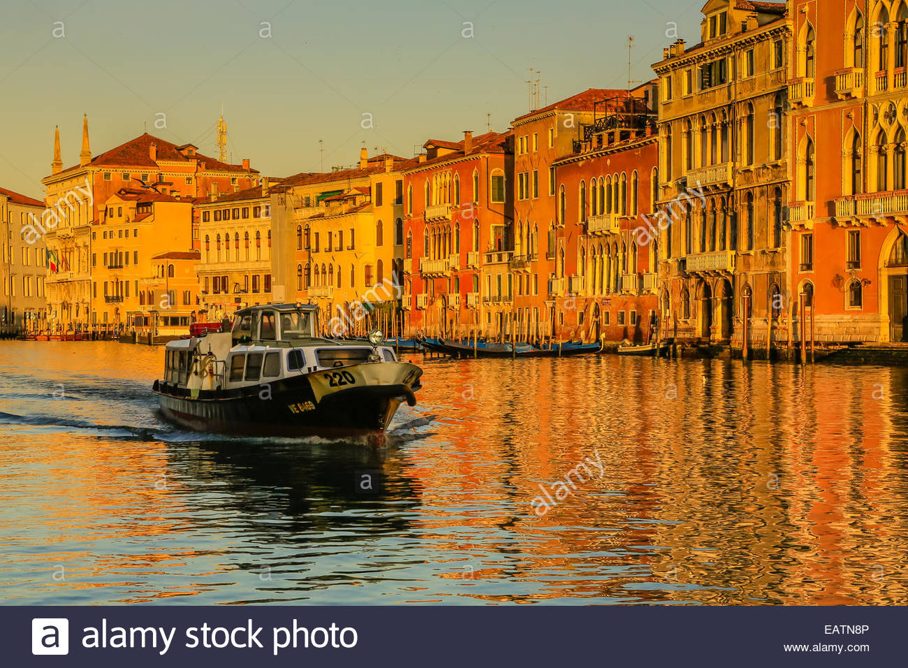 A water taxi plies the Grand Canal in Venice - Stock Image
