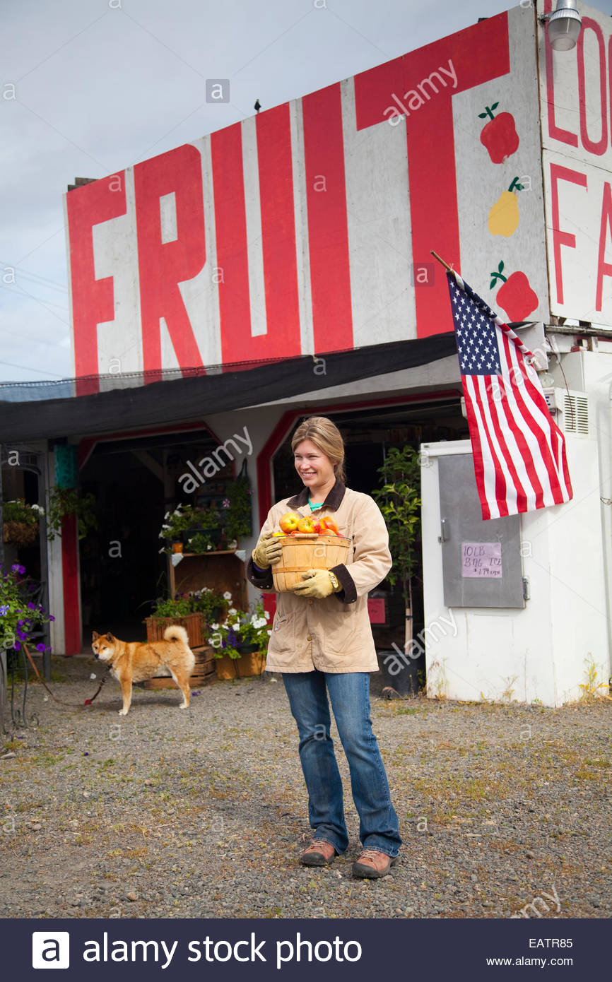 The Mcilrath fruit stand on Highway 12, just before entering the city of Yakima. - Stock Image