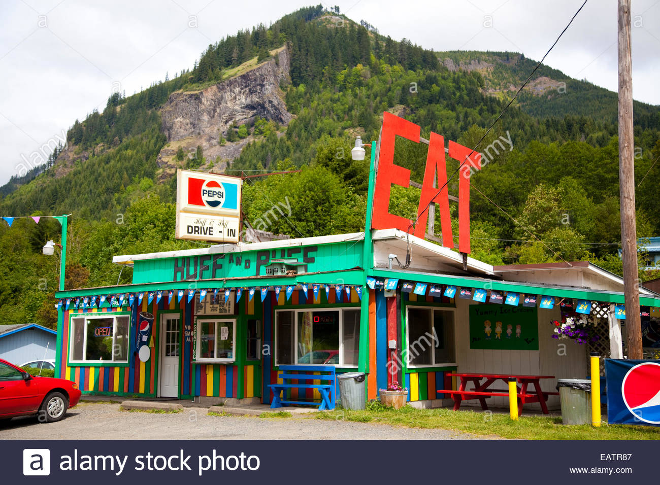 The Huff N Puff Drive In Diner Off Highway 12 Serves Burgers And Milkshakes