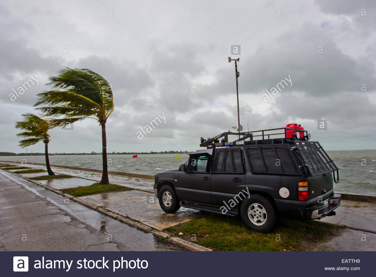 The H.E.R.V., Hurricane Eyewall Research Vehicle, collecting scientific data from Hurricane Isaac. - Stock Image