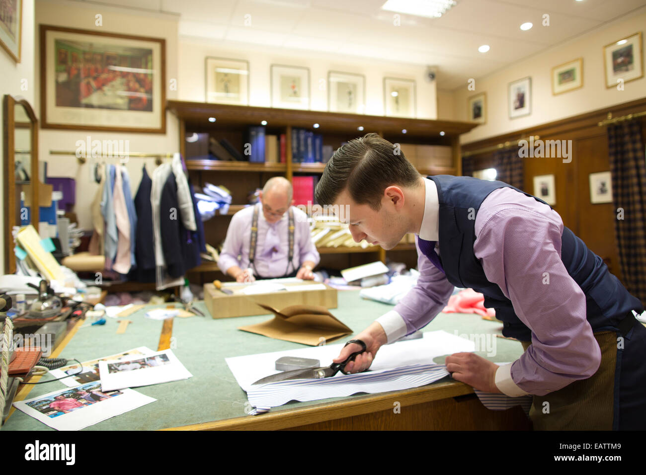 Dege & Skinner, family-owned tailoring house, Savile Row, Central London, England, UK - Stock Image