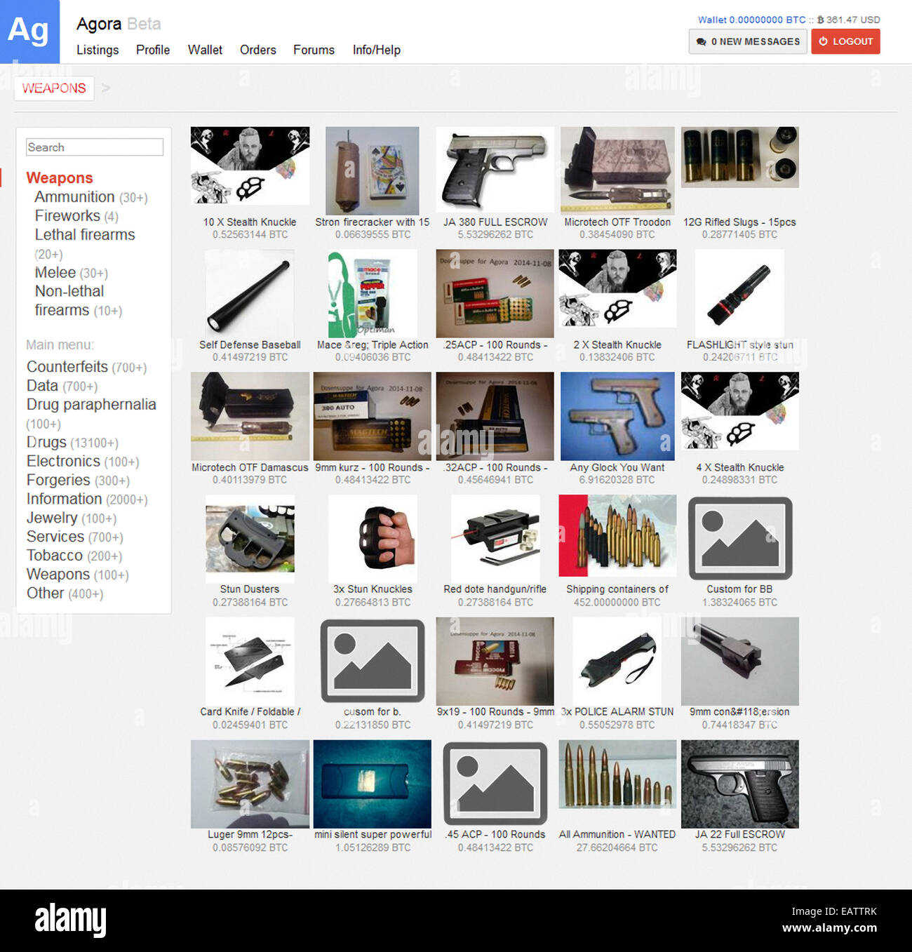 Agora Marketplace for illicit goods (drugs, counterfeits, weapons) established 3 December 2013 accessed on the darknet - Stock Image