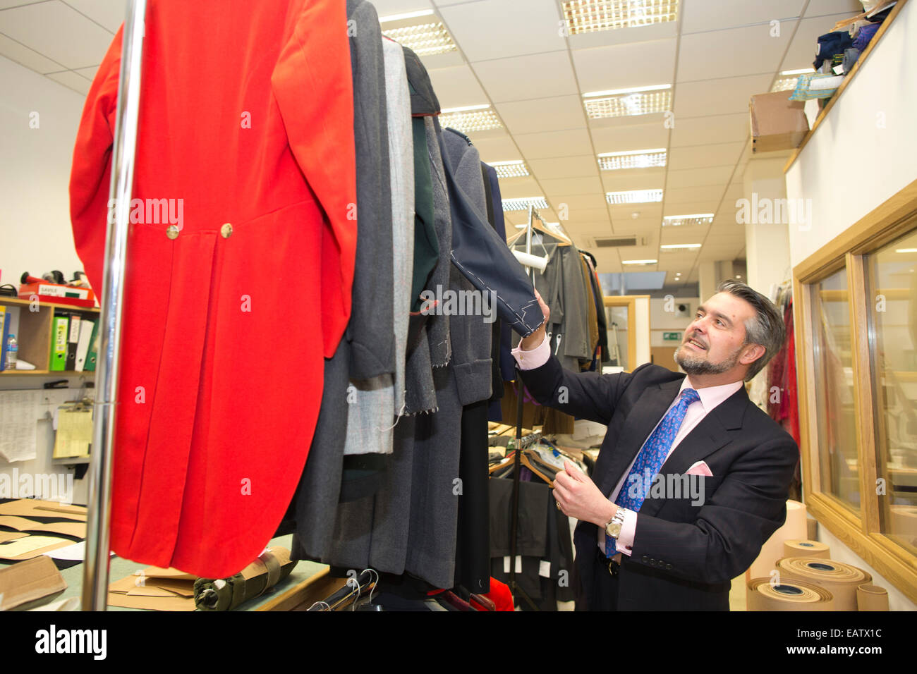 William Skinner, Managing Director at Dege & Skinner, family-owned tailoring house, Savile Row, Central London, - Stock Image