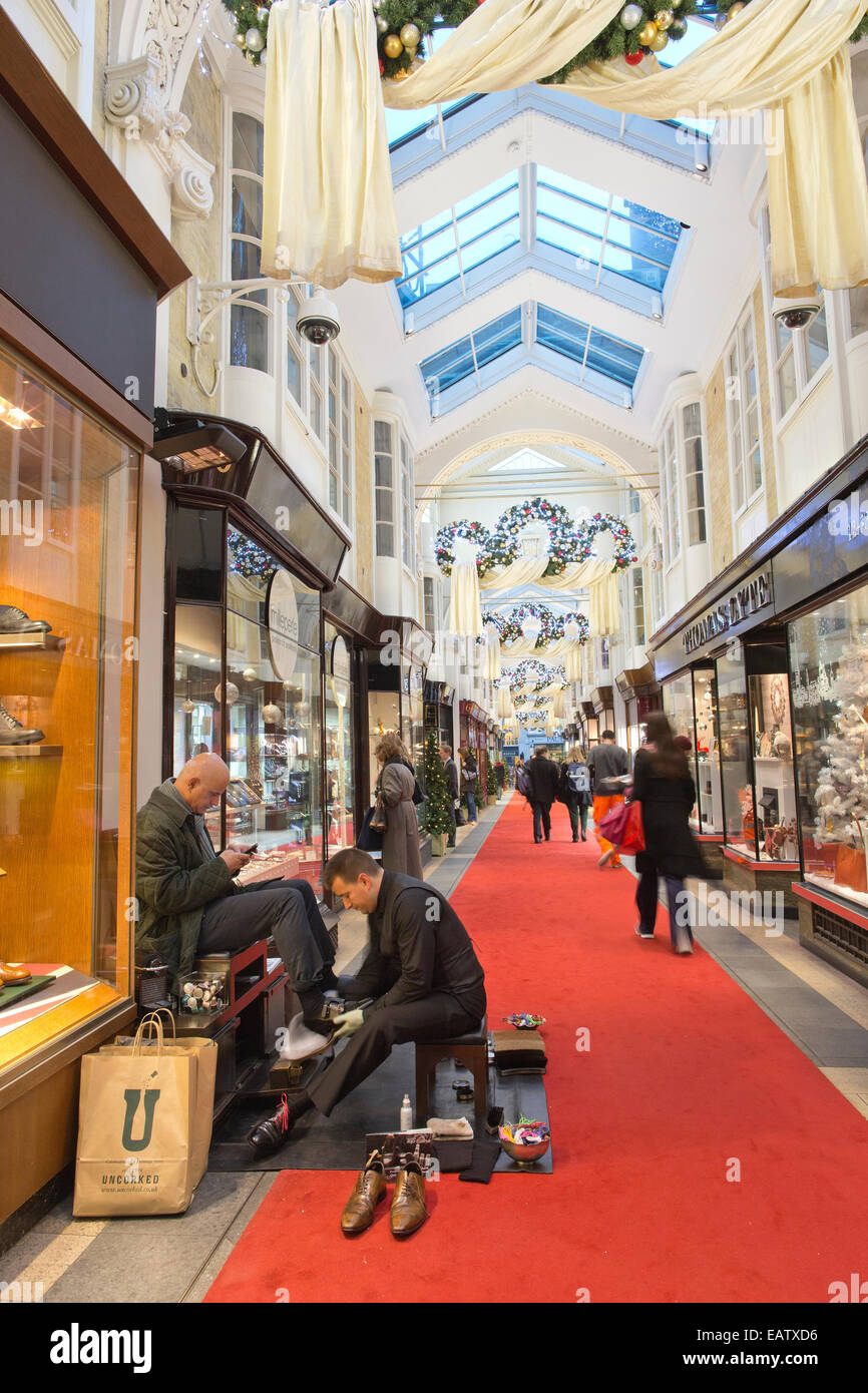 Burlington Arcade, shopping arcade in Mayfair which opened in 1819, London, England, UK - Stock Image