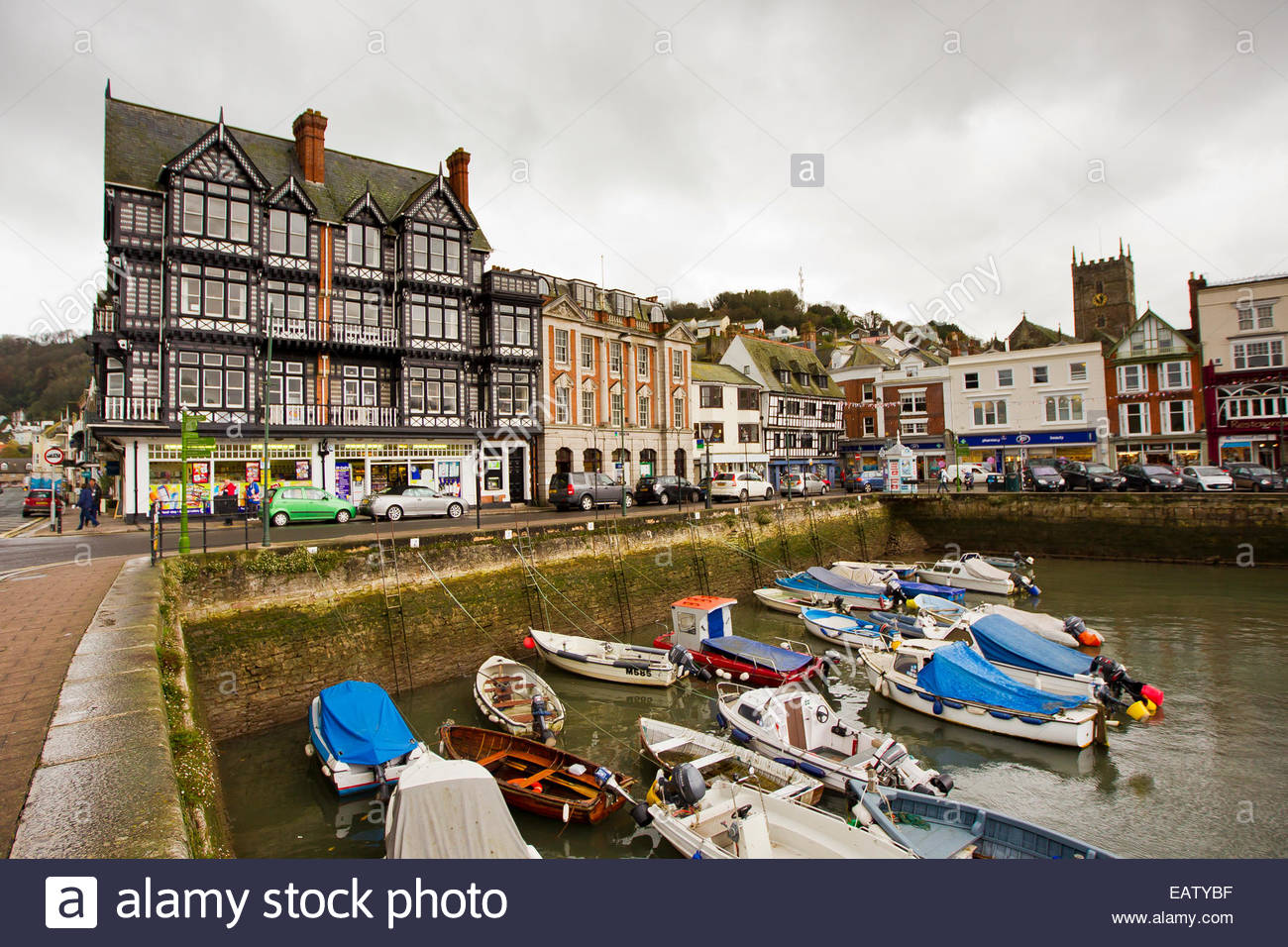 Boats tied up at a basin in Dartmouth, England. - Stock Image