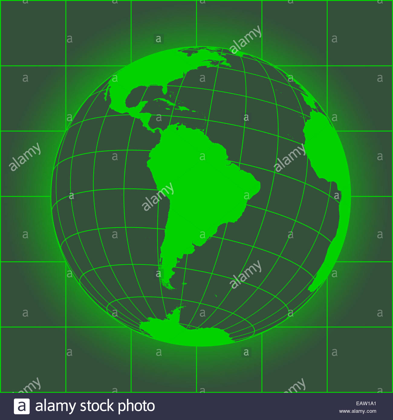 Green South America map. Antarctica, North America, Africa. Earth