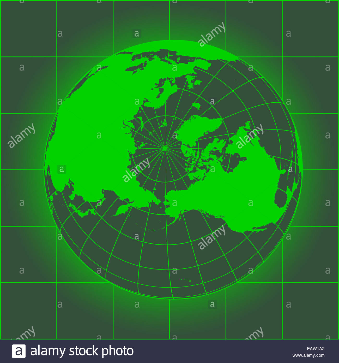 Green North Pole map Europe Greenland Asia America Russia