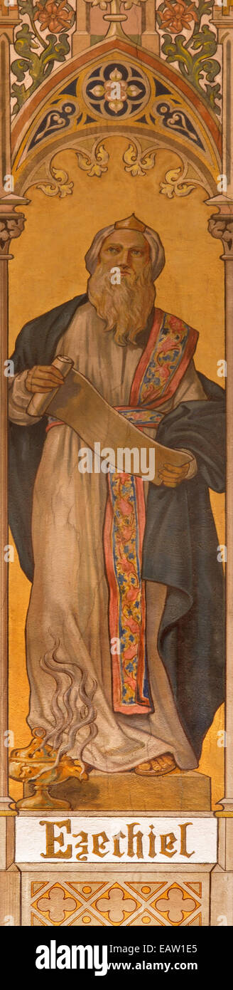 Trnava - The neo-gothic fresco of prophet Ezekiel by Leopold Bruckner (1905 - 1906) in Saint Nicholas church. - Stock Image