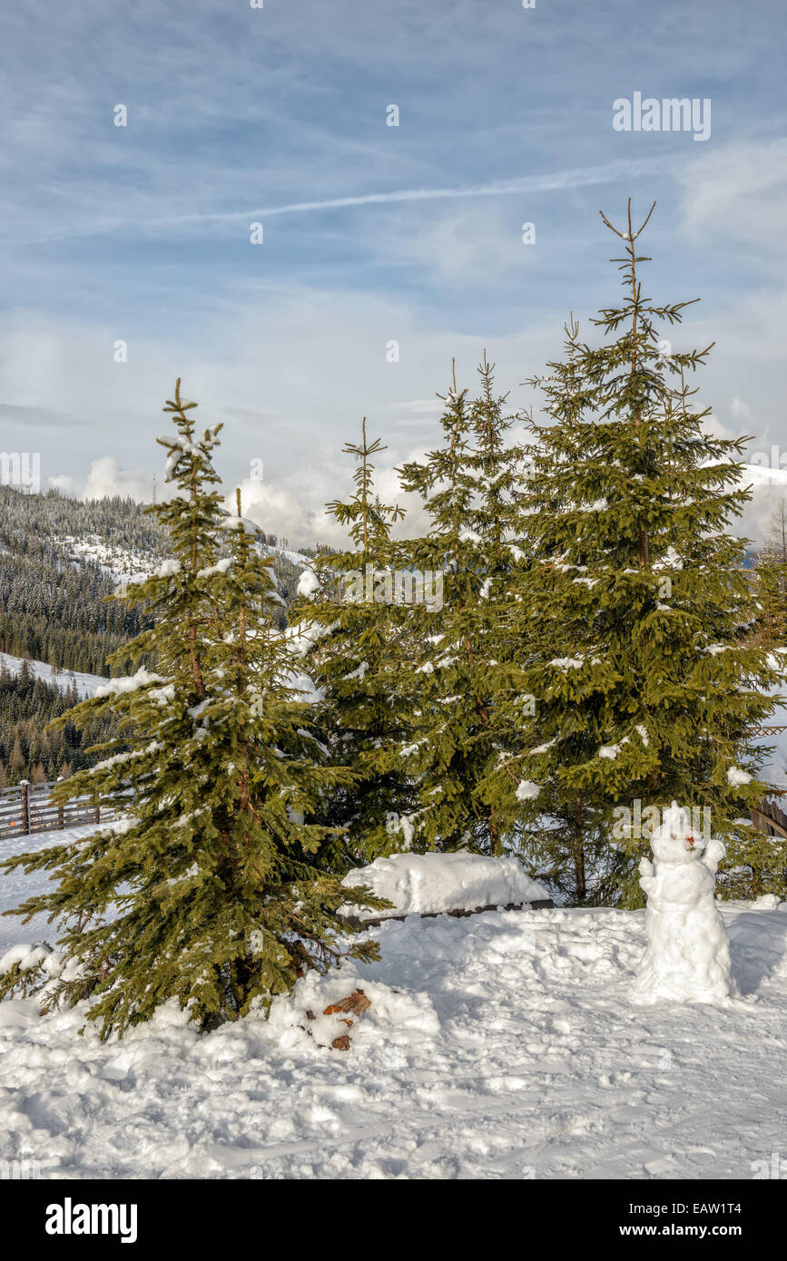 Landscape with snowman and spruces in mountains - Stock Image