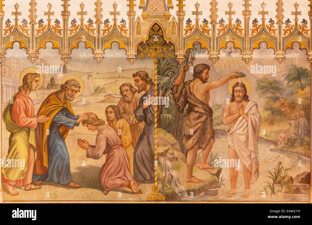 Trnava - The neo-gothic fresco of fhe scene Baptism of Christ and the Apostles at confirmation - Stock Image