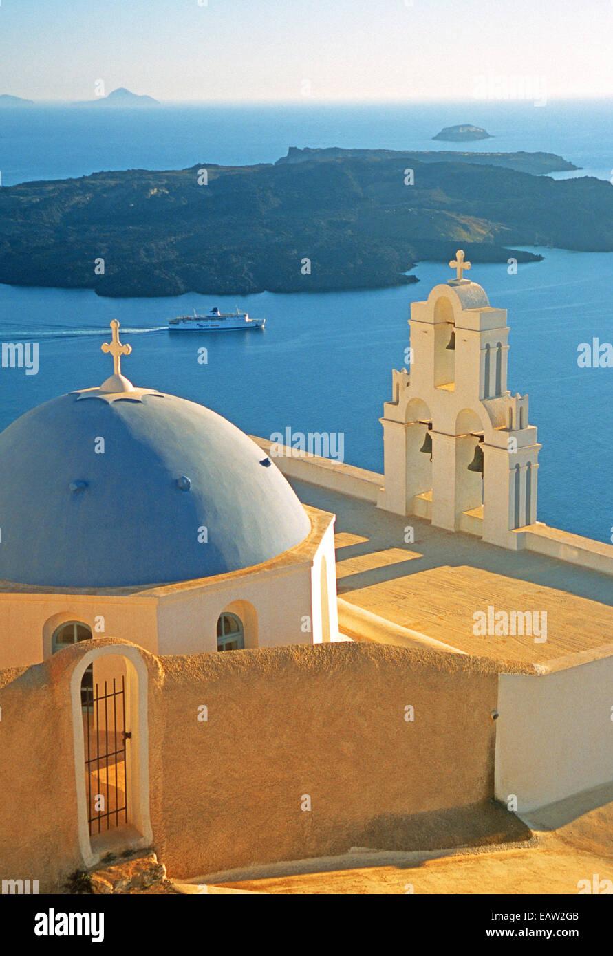 Kimis Theotokov Greek Orthodox Church at Fira, Santorini, Greek Isles. - Stock Image