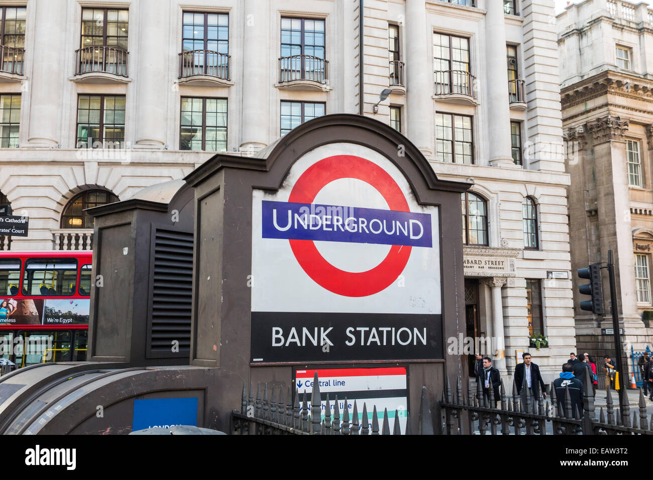 Public transport infrastructure: Bank London Underground station entrance in Princes Street in the City of London, - Stock Image