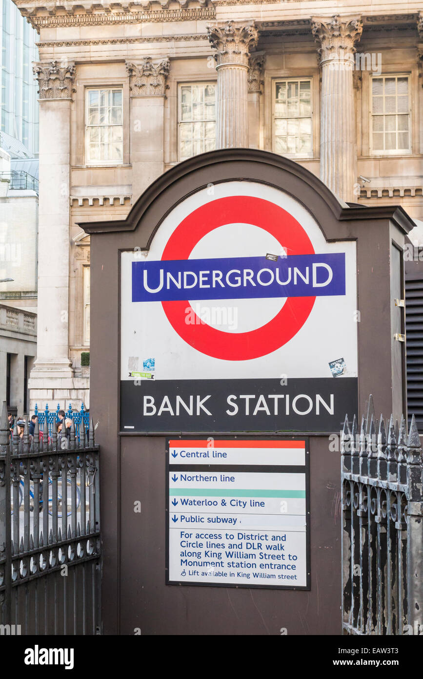 Public transport: Bank London Underground station entrance in Princes Street the City of London, London Underground - Stock Image