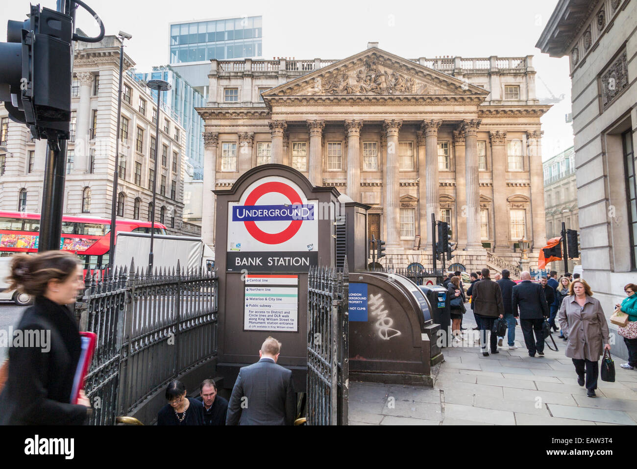 Transport and commuting: Bank London Underground station entrance in Princes Street the City of London, London Underground - Stock Image